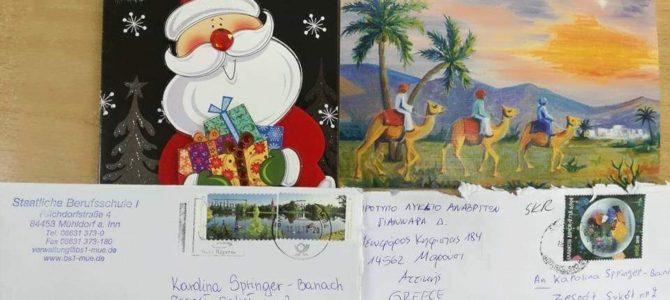 """Uczestnicy projektu eTwinning """"Zusammen"""" otrzymali kartki świąteczne od partnerskich szkół z Grecji i Niemiec"""